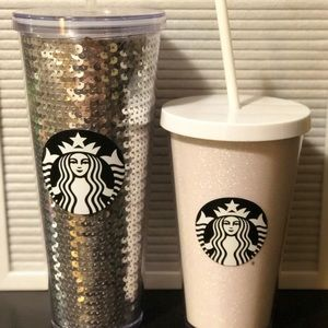 Silver Sequin Starbucks Cold Tumbler